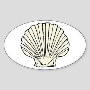 Sea Scallop Shell Sticker (Oval)