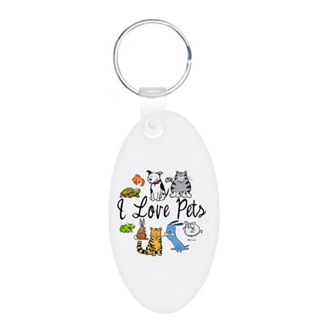 Pet Lover Aluminum Oval Keychain