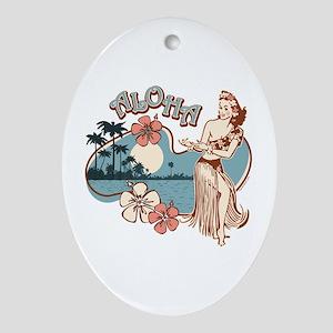 Aloha Hula Girl Ornament (Oval)