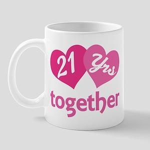 21st Anniversary Hearts Mug