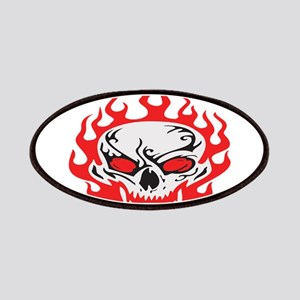 Flaming Red Skull Patches