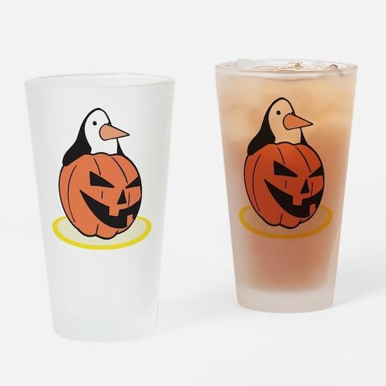 Penguin in Pumpkin Pint Glass
