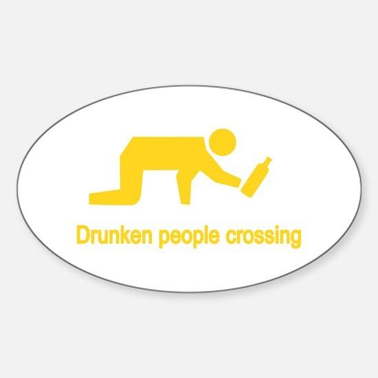 Drunken People Crossing Sticker (Oval)