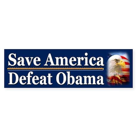 Save America Defeat Obama Sticker (Bumper)