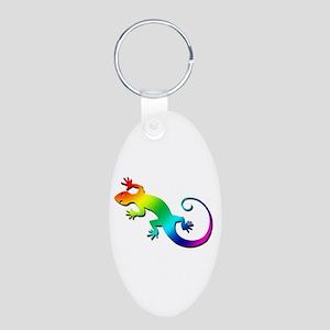 Rainbow Gecko Aluminum Oval Keychain