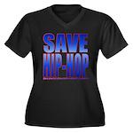 Save Hip-Hop Women's Plus Size V-Neck Dark T-Shirt