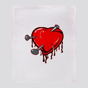 Heart & Nails Tattoo Throw Blanket