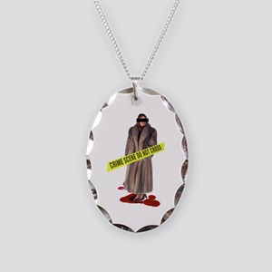 Crime Scene Necklace Oval Charm