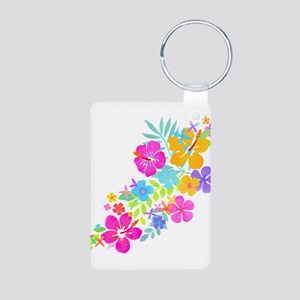 Tropical Flowers Aluminum Photo Keychain