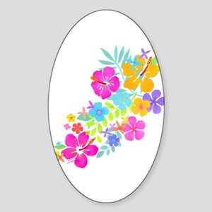 Tropical Flowers Sticker (Oval)