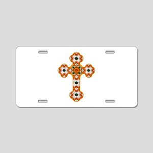 Floral Cross I Aluminum License Plate