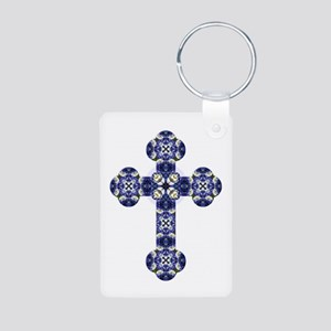 Bluebonnet cross Aluminum Photo Keychain