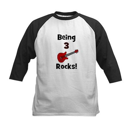 Being 3 Rocks! Kids Baseball Jersey