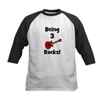 Being 3 Rocks! Kids Baseball Jersey