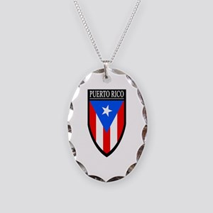 Puerto Rico Patch Necklace Oval Charm