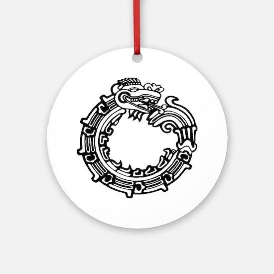 Aztec Ouroboros Symbol Ornament (Round)