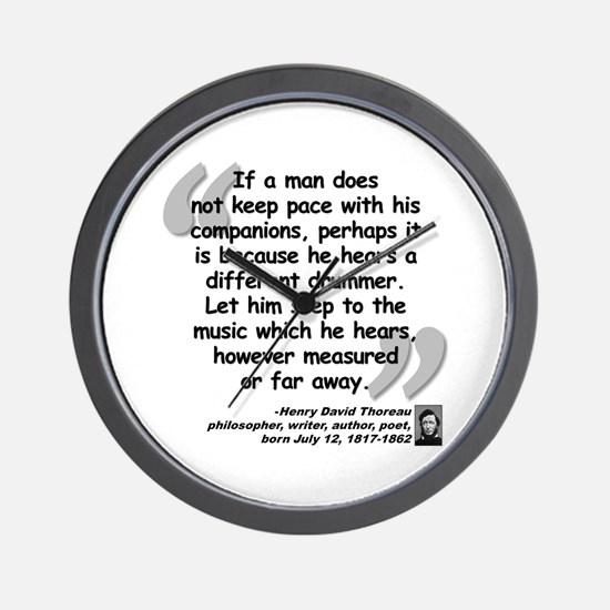 Thoreau Drummer Quote Wall Clock