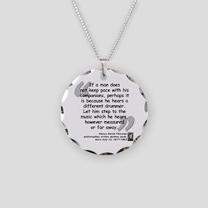 Thoreau Drummer Quote Necklace Circle Charm