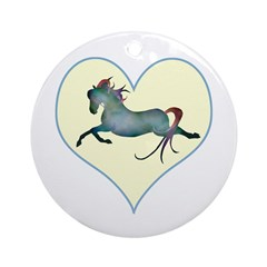 blue moon horse & hearts Ornament (Round)