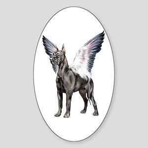Great Dane Angel Black Oval Sticker