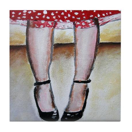 RED DRESS GIRL Tile Coaster