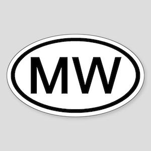 MW - Initial Oval Oval Sticker