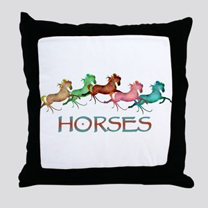 many leaping horses Throw Pillow