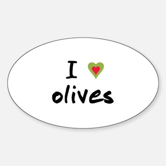 I Love Olives Sticker (Oval)