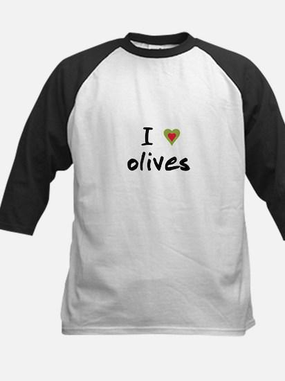 I Love Olives Kids Baseball Jersey