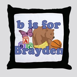 B is for Brayden Throw Pillow