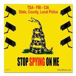 """Stopspying Square Car Magnet 3"""" X 3"""""""
