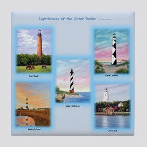 Lighthouses Of The Outer Banks Tile Coaster