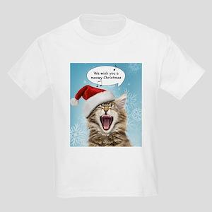 Singing Christmas Cat Kids Light T-Shirt