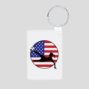 US Women's Soccer Aluminum Photo Keychain