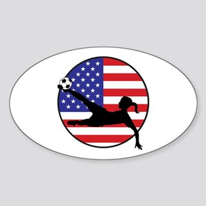 US Women's Soccer Sticker (Oval)