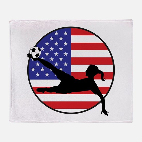 US Women's Soccer Throw Blanket