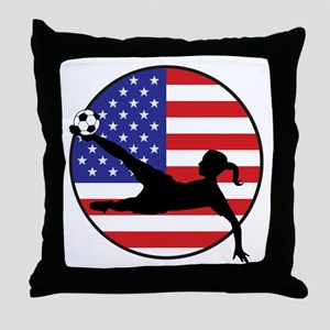 US Women's Soccer Throw Pillow