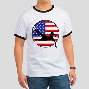 US Women's Soccer Ringer T