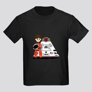 Spaceman and Space Capsule Kids Dark T-Shirt