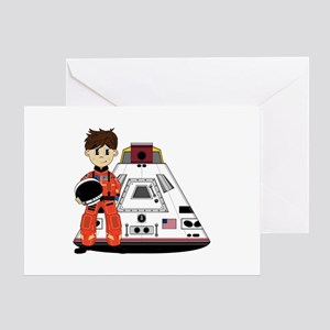 Spaceman and Space Capsule Greeting Card