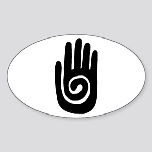 Hopi Hand Rock Painting Sticker (Oval)