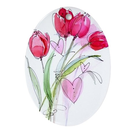 Tulip2 Oval Ornament
