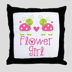 Flower Girl Ladybug Throw Pillow