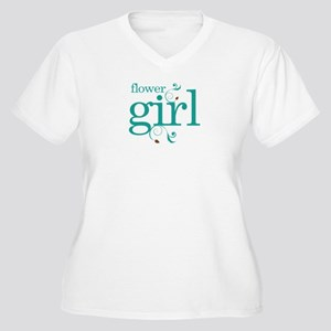 Flower Girl Wedding Swirl Women's Plus Size V-Neck
