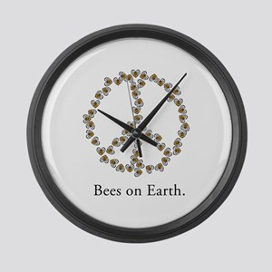 Bees on Earth (Peace) Large Wall Clock