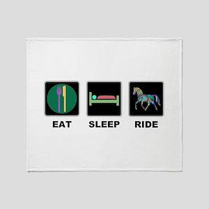 Eat Sleep Ride Horse Throw Blanket