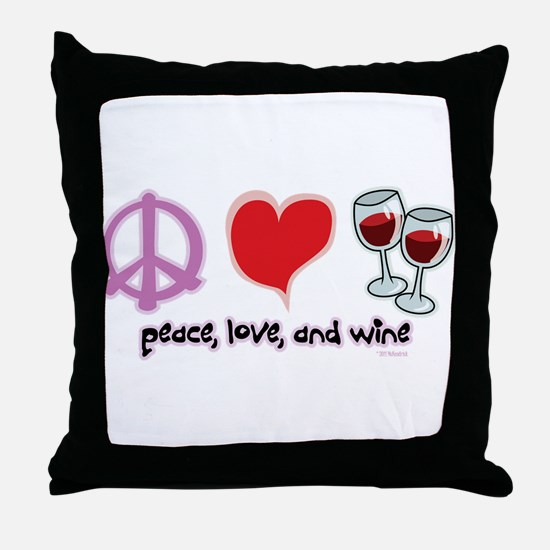 Peace, Love, and Wine Throw Pillow