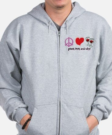 Peace, Love, and Wine Zip Hoodie