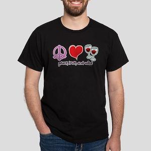 Peace, Love, and Wine Dark T-Shirt