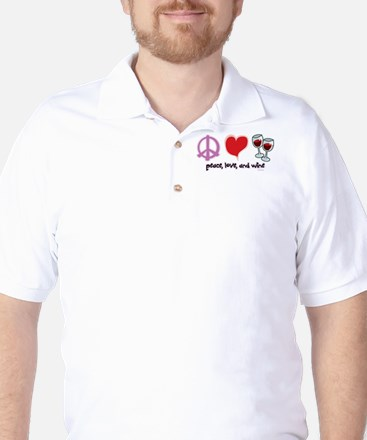 Peace, Love, and Wine Golf Shirt